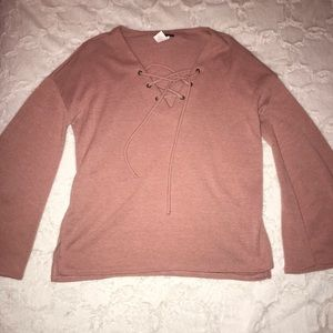 Charlotte Russe - Blush Pink Bell Sleeve Blouse